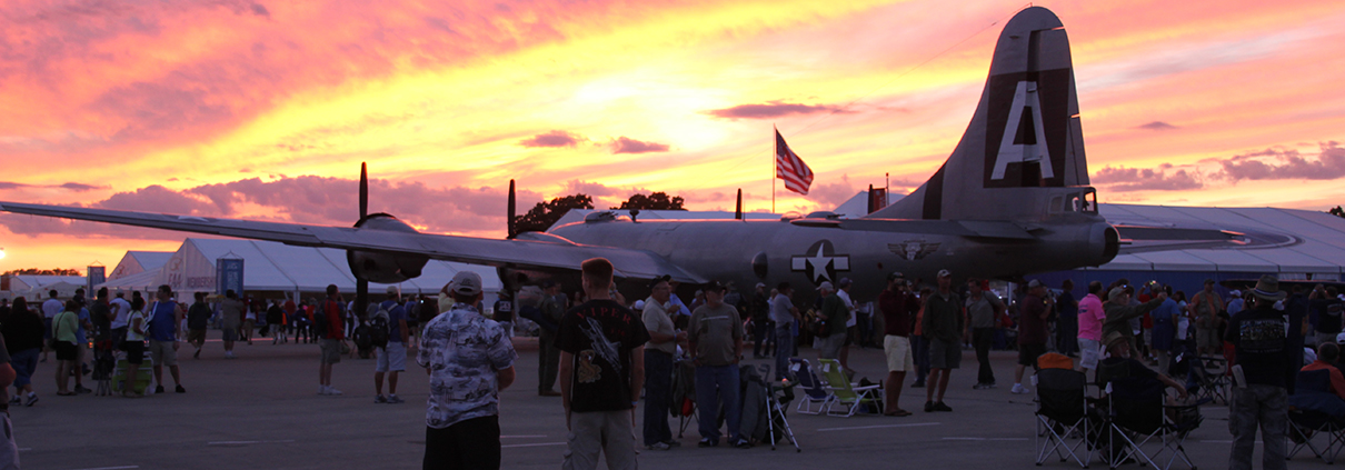 eaa plane at sunset