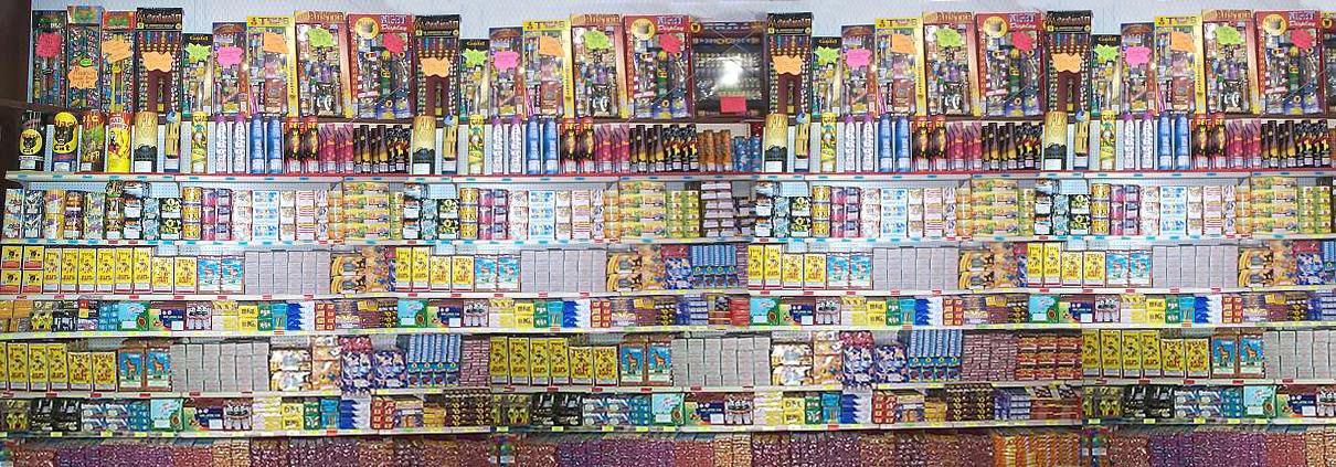 shelf of fireworks