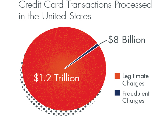 Of the $1.2 Trillion of credit card transactions processing in the US each year, $8 Billion are fraudulent