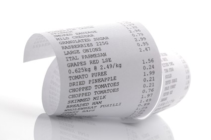 curled receipt paper