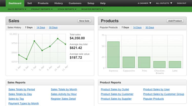 vend reports dashboard