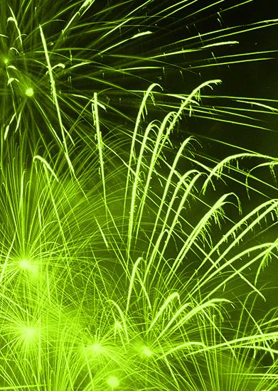 green background fireworks